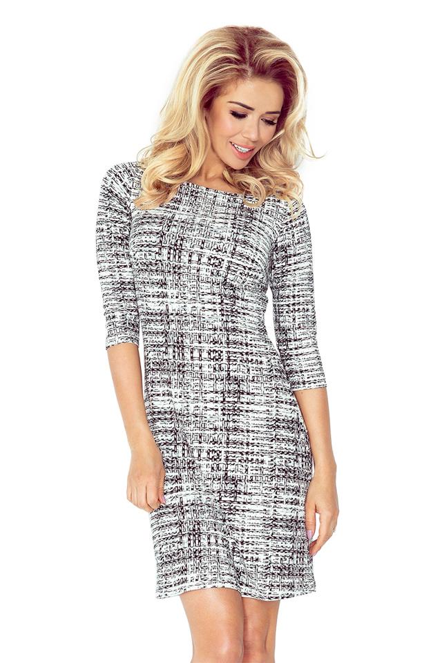 Černobílé šaty s 3/4 rukávy 88-15 - L