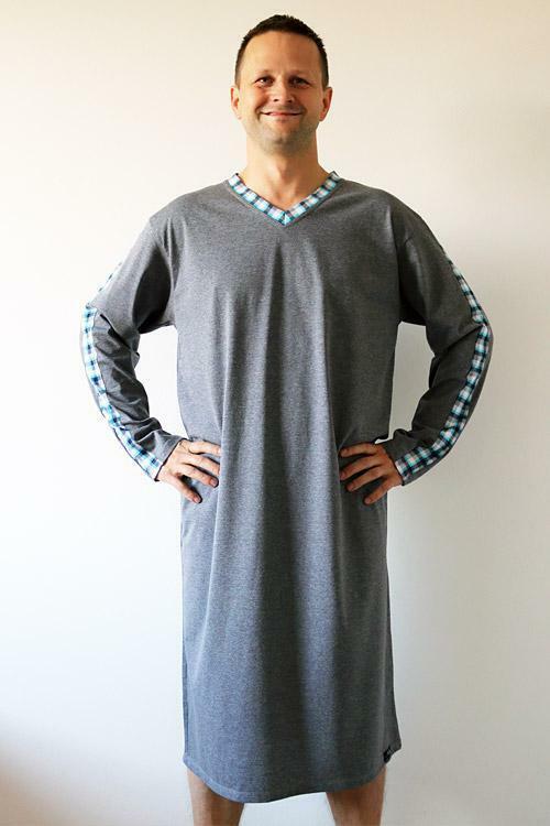 Pánská noční košile Nelly Filip 1017 DL - M - šedá (melanž)