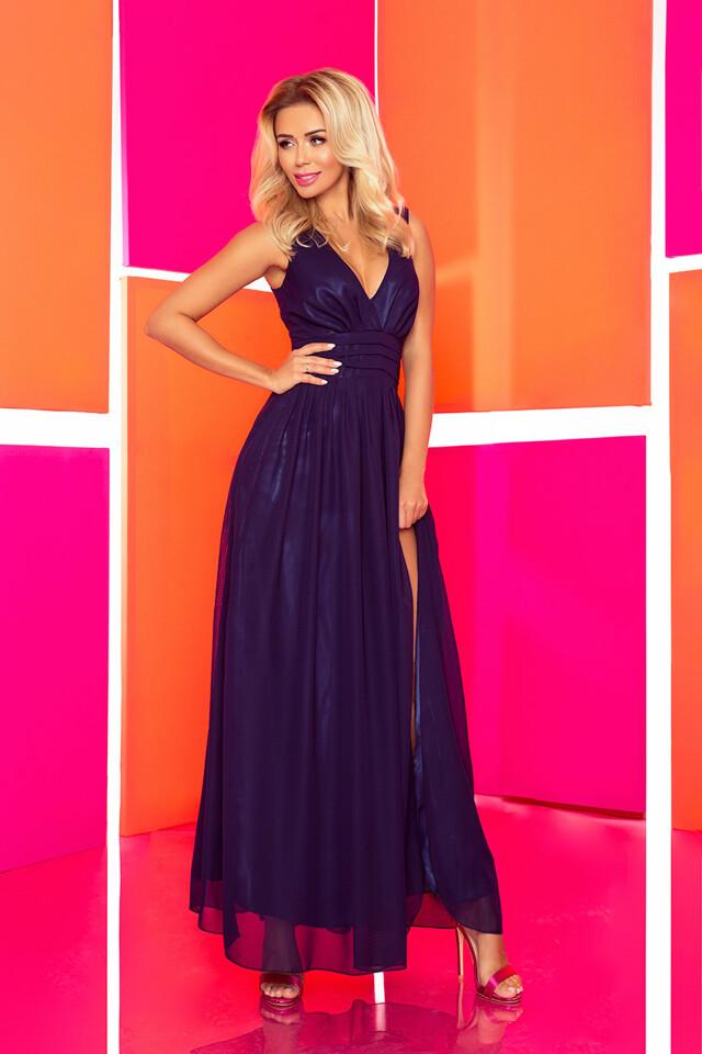 Tmavě modré šifónové maxi šaty s rozparkem 166-1 - S