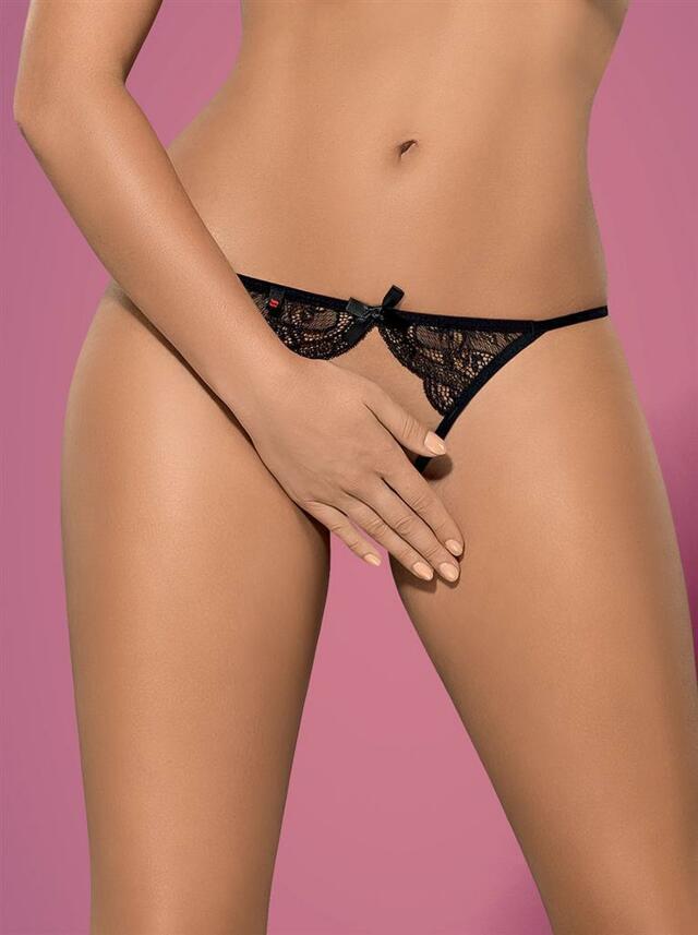 Kalhotky Miamor panties otevřené - Obsessive - L/XL - černá