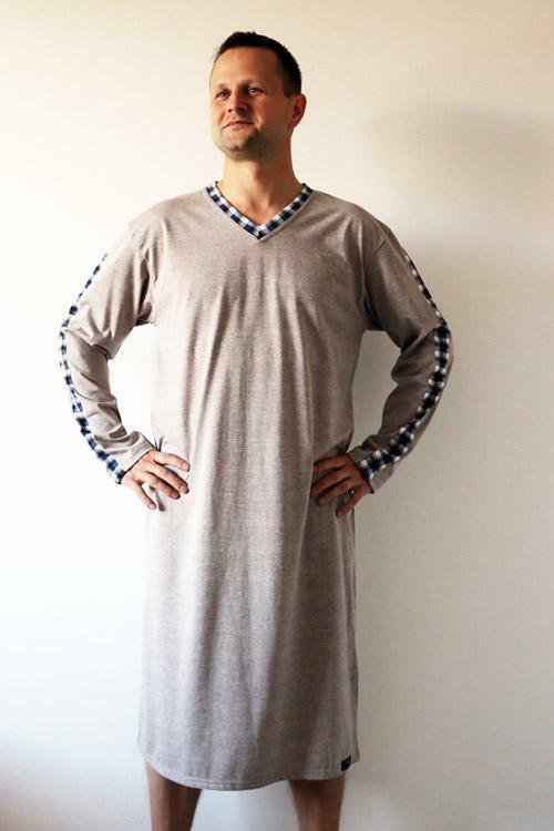 Pánská noční košile Nelly Filip 1019 DL - M - béžová (melanž)