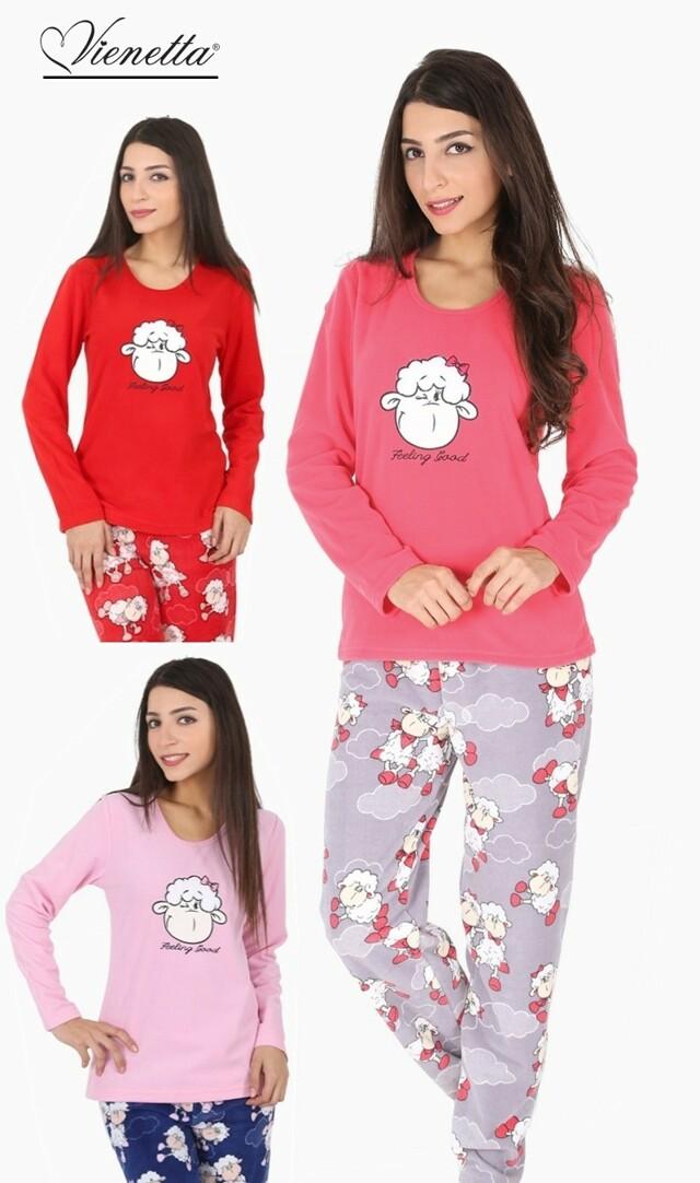 Dámské pyžamo dlouhé Velká ovce - růžová S