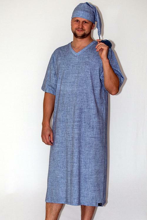 Pánská noční košile Nelly Alex DL - jeans - M - světle modrá JEANS