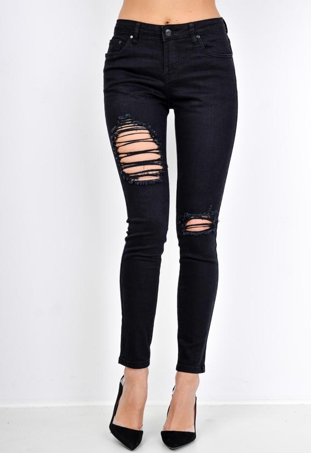 Černé dámské kalhoty s trháním - L - Černá