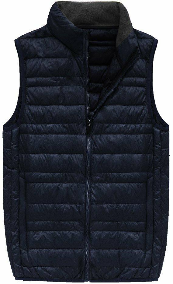Tmavě modrá pánská vesta s přírodní vycpávkou (5008) - L - tmavěmodrá