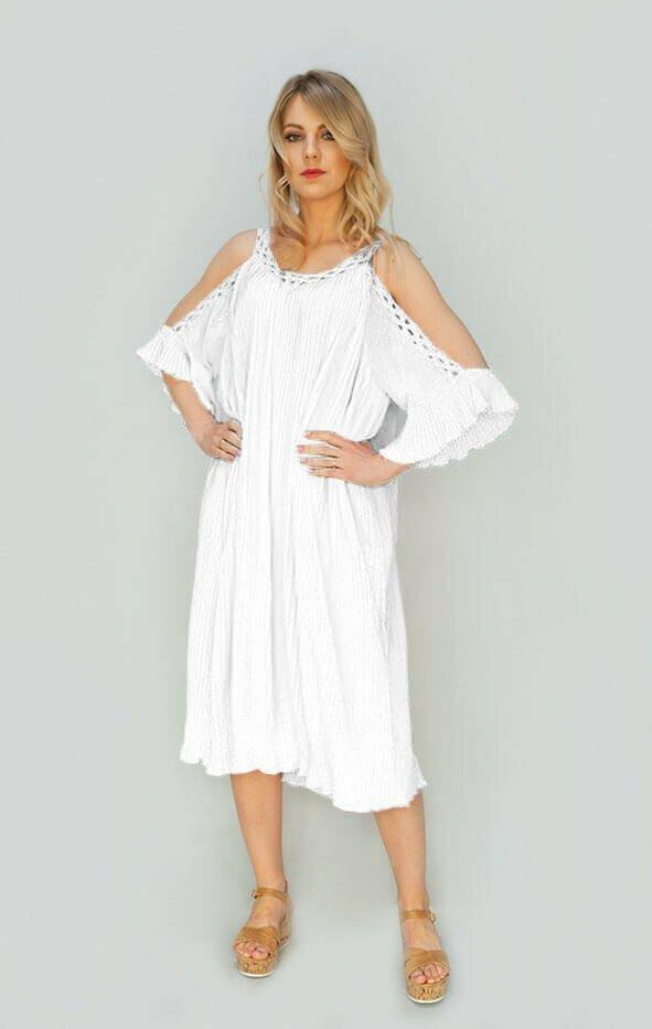Bílé plisované šaty s vykrojenými rameny (342ART) - jedna velikost - bílá