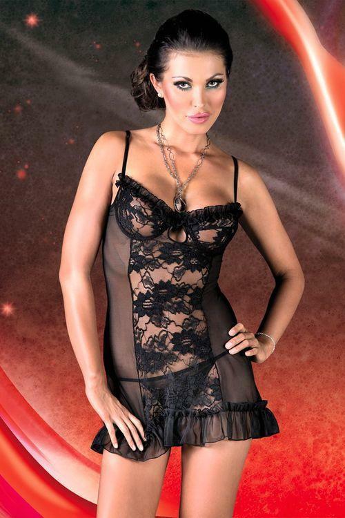 Erotická košilka Lulu black - M - černá
