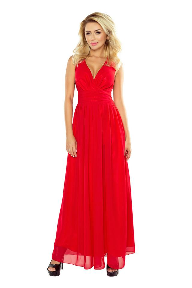 Červené šifónové maxi šaty 166-2 - S