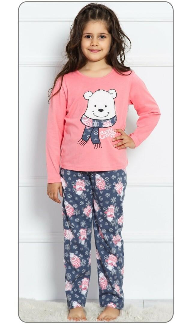 Dětské pyžamo dlouhé Medvídek - lososová 11 - 12