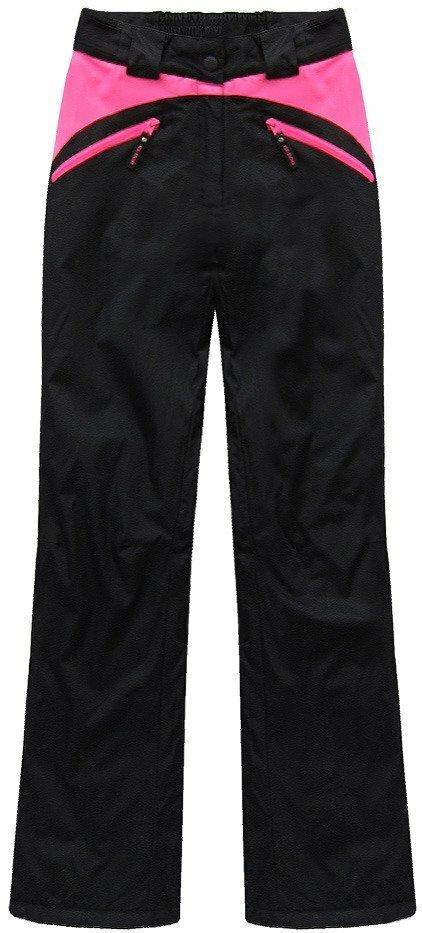 Černo-růžové lyžařské kalhoty (QS189) - S (36) - černá