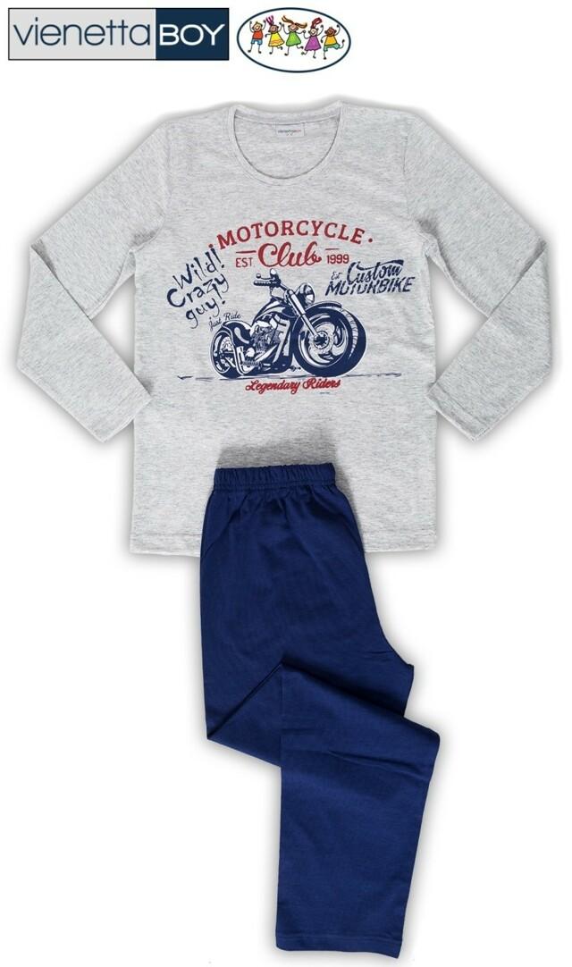 Dětské pyžamo dlouhé Motocykl - šedá 9 - 10