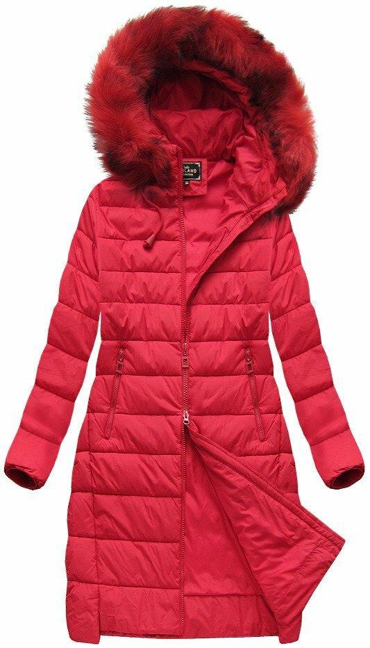 Červená dámská zimní bunda s kapucí (7754BIG) - 46 - červená