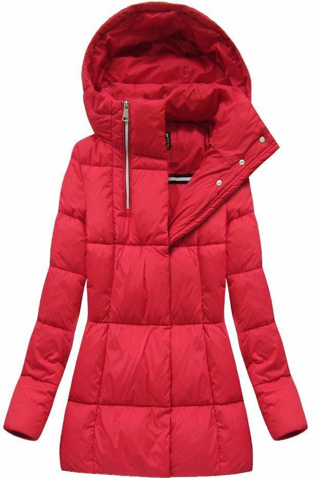 Červená dámská zimní bunda krátká (7750BIG) - 46 - červená