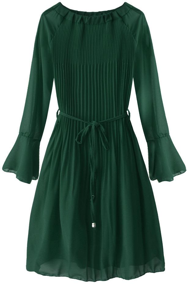 Zelené dámské plisované šaty ve španělském stylu (241ART) - ONE SIZE - zelená