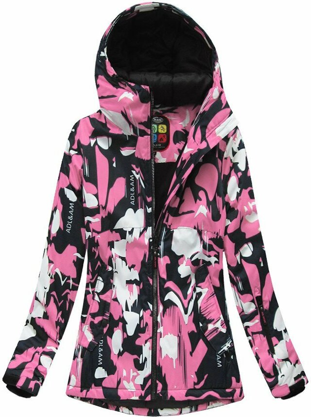 Černo-růžová dámská zimní bunda s membránou (W186) - L (40) - růžová