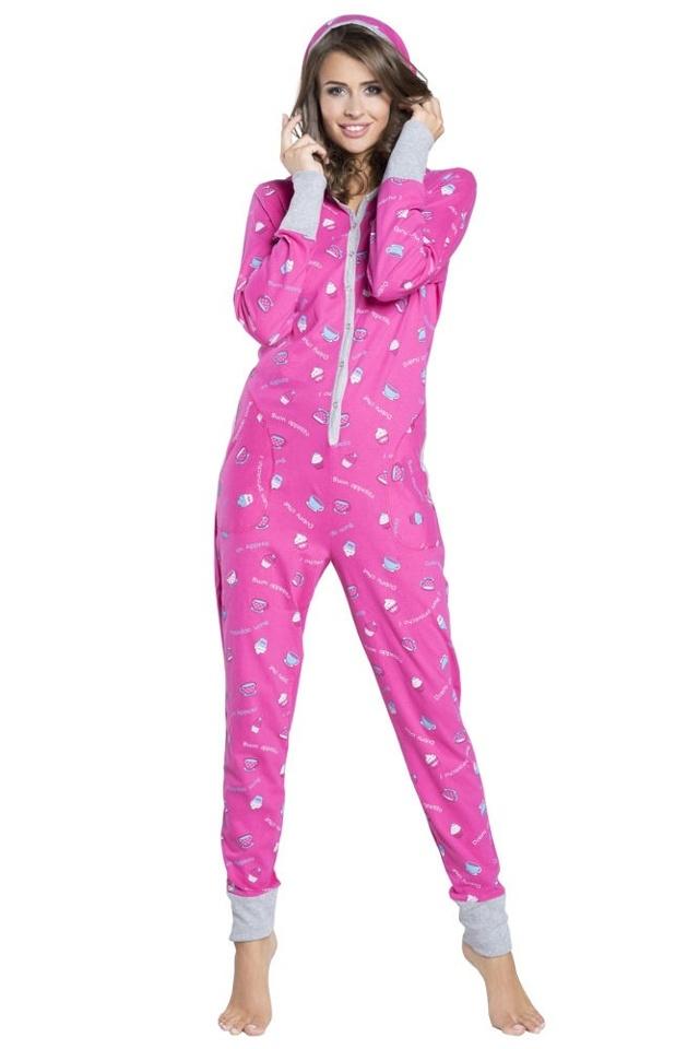 Pyžamový růžový overal dámský Appetito druky - S