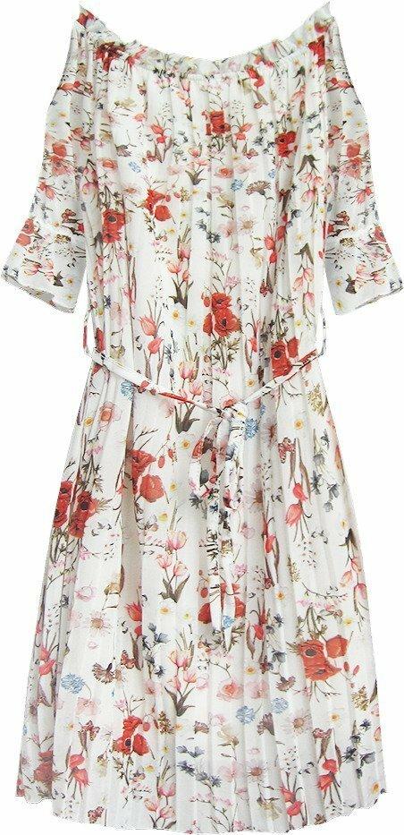 Bílé dámské plisované šaty ve španělském stylu (350ART) - ONE SIZE - bílá