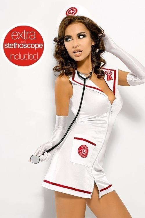Erotický kostým Emergency dress stetoskop XXL - XXL - bílá