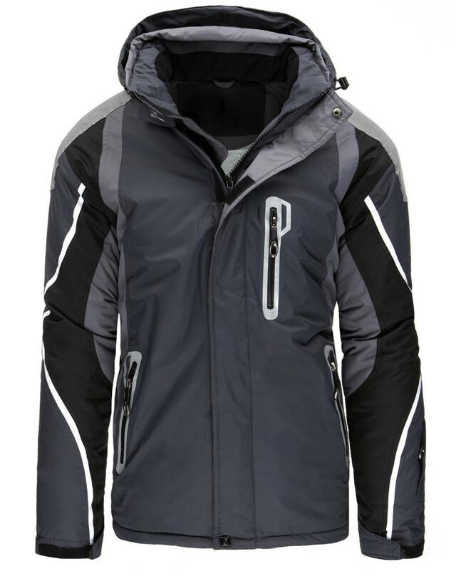 Pánská zimní lyžařská bunda s kapucí TT-8253 (tx1888) - GOODFRIENDS - L - šedo-černá