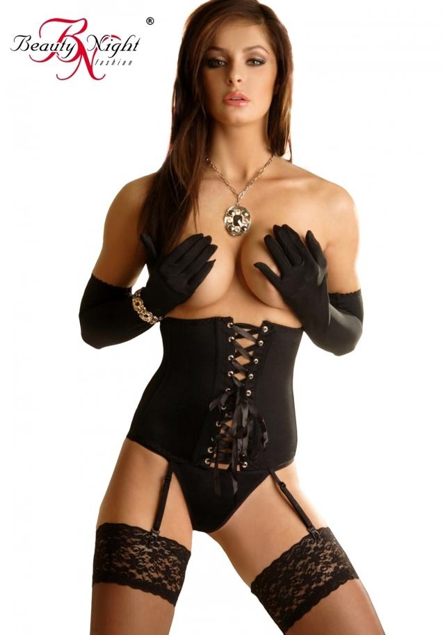 Erotický korzet Carmen black - S/M - černá