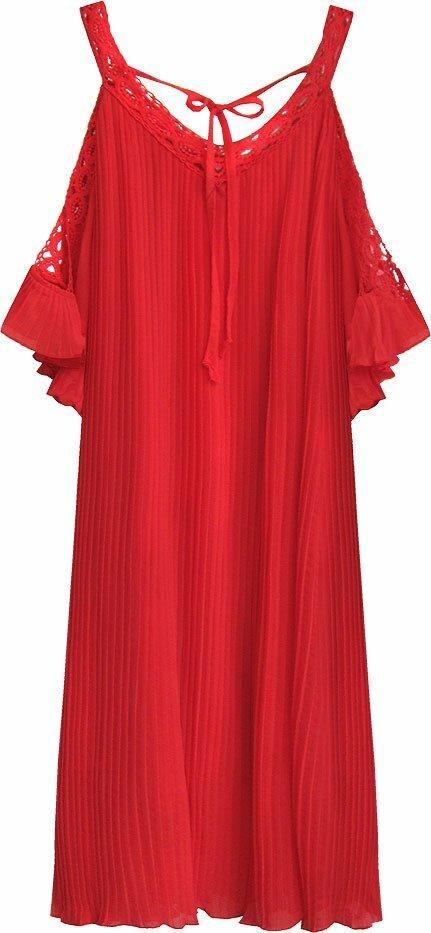 Červené plisované šaty s vykrojenými rameny (342ART) - jedna velikost - Červená