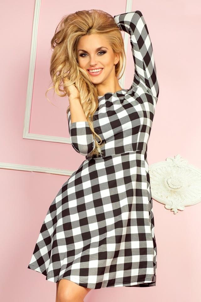 Černobílé rozšířené šaty s 3/4 rukávy 49-1 - L