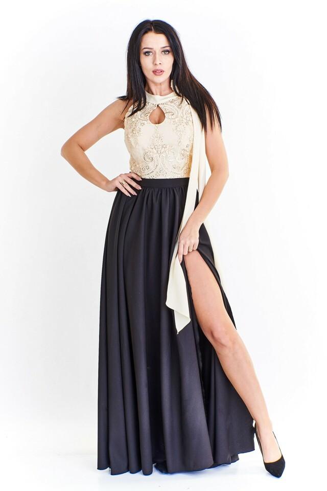 Dámské šaty s korzetovým vrchem M51196 - BICOTONE - 36 - černo-béžová