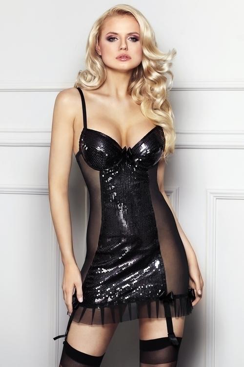 Erotická košilka Florencia - L - černá