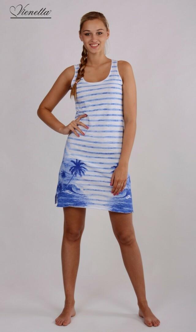 Plážové šaty na ramínka Ostrov - modrá S