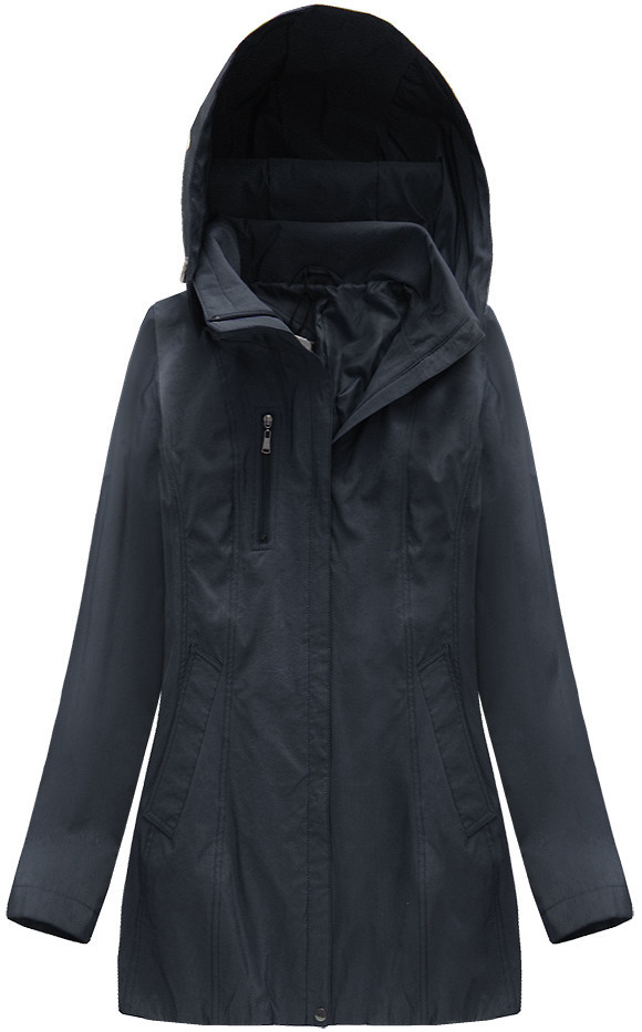 Tmavě modrá lesklá bunda s kapucí (B2610-30) - XXL (44) - tmavěmodrá