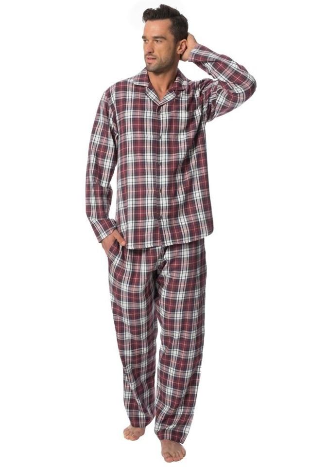 Pánské flanelové pyžamo Sammy vínové káro - M