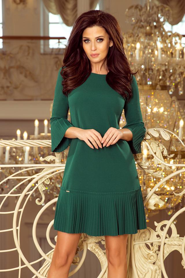 LUCY - Pohodlné dámské plisované šaty v lahvově zelené barvě 228-2 - XXL