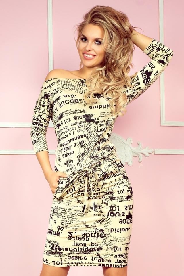 Béžové šaty s novinovými nápisy 13-29 - XL