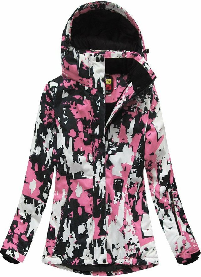 Černo-růžová dámská zimní bunda s membránou (W183) - S (36) - růžová