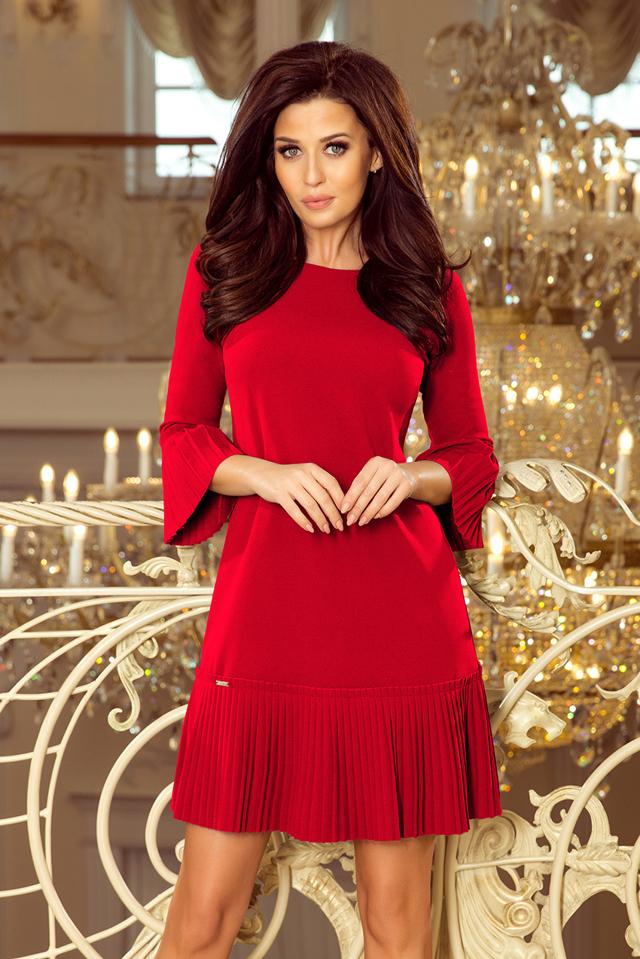 LUCY - Červené pohodlné dámské plisované šaty 228-3 - L