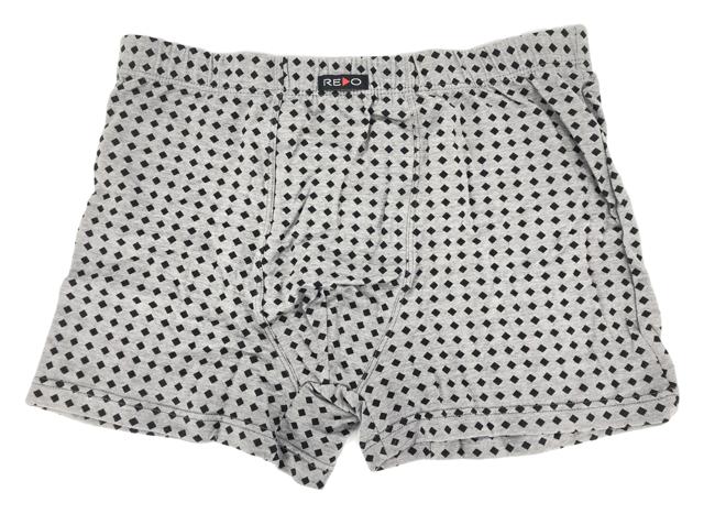 Pánské boxerky šedé kostičky - Redo - 3XL - tm.šedá-černá