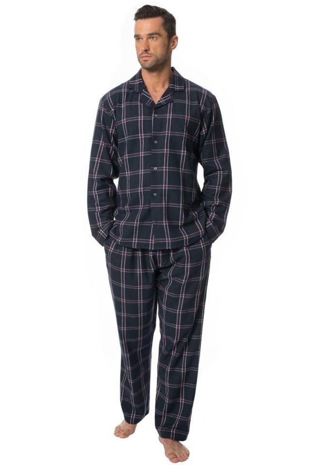 Pánské flanelové pyžamo Barney černé káro - M