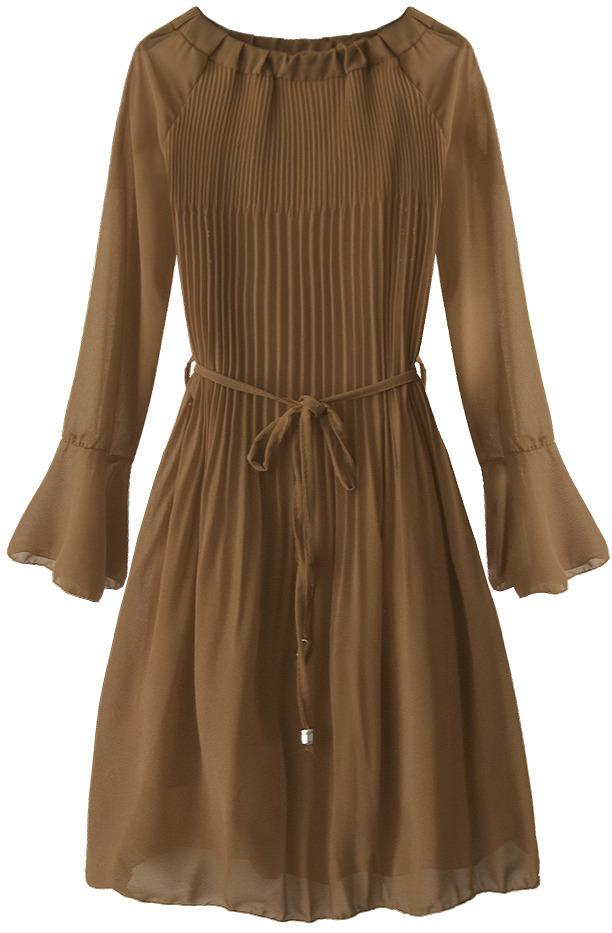 Hnědé dámské plisované šaty ve španělském stylu (241ART) - ONE SIZE - hnědá