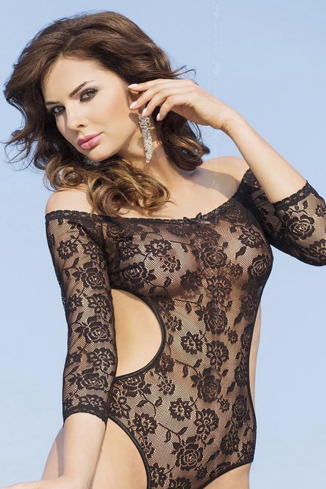 Erotické body Rosa black - SOFTLINE COLLECTION - M/L - černá