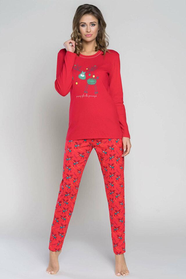 Dámské pyžamo Italian Fashion Zora dł.r. dł.sp. - L - červená