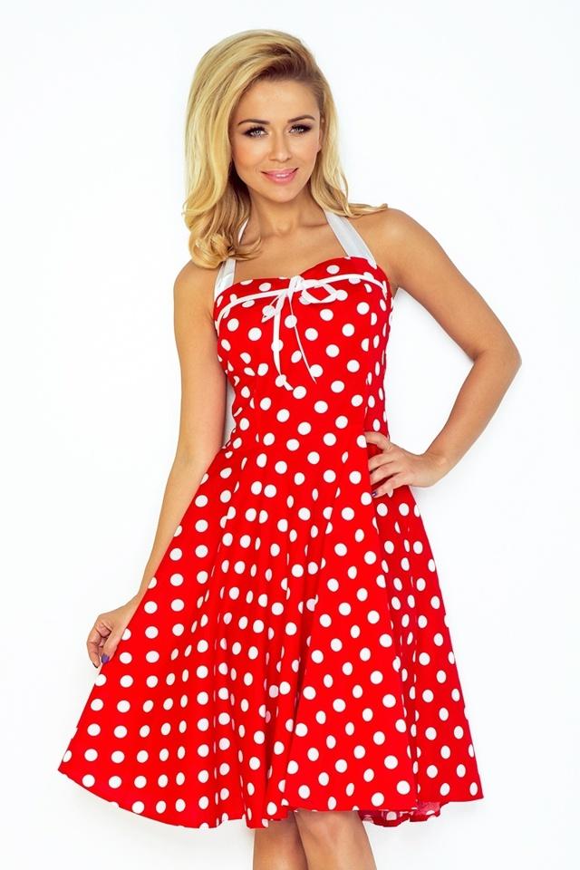 Červené rockabilly pin up šaty s puntíky 30-21 - UNI