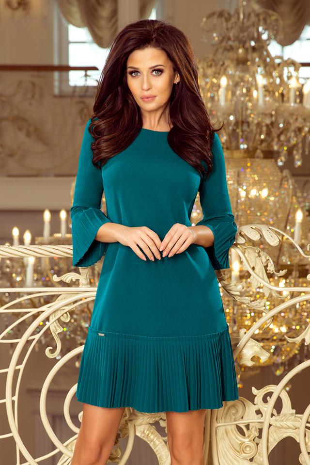 Světle modré pohodlné dámské plisované šaty model 7628462 - S