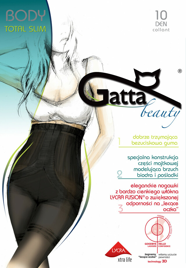 Punčochové kalhoty Gatta Body Totalslim Fusion 10 den - 2-S - zlatá/odstín béžové