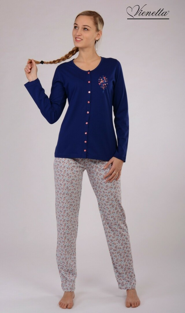 Dámské pyžamo dlouhé Elena - tmavě modrá S