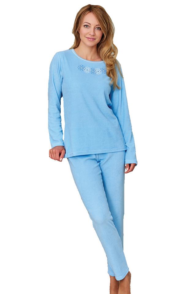 Froté dámské pyžamo Květa modré - S