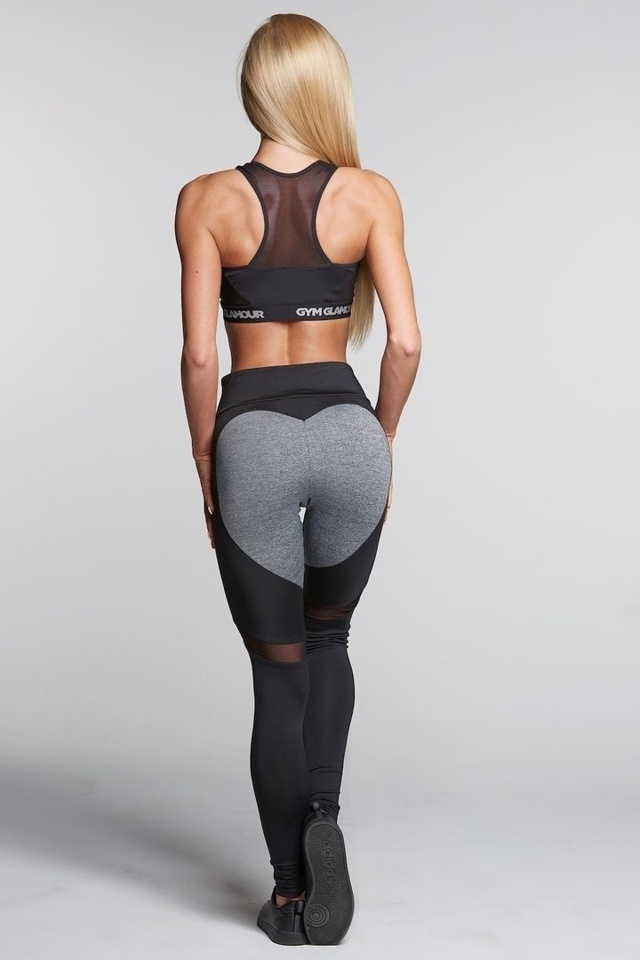 Gym Glamour Legíny Black And Grey Heart - L
