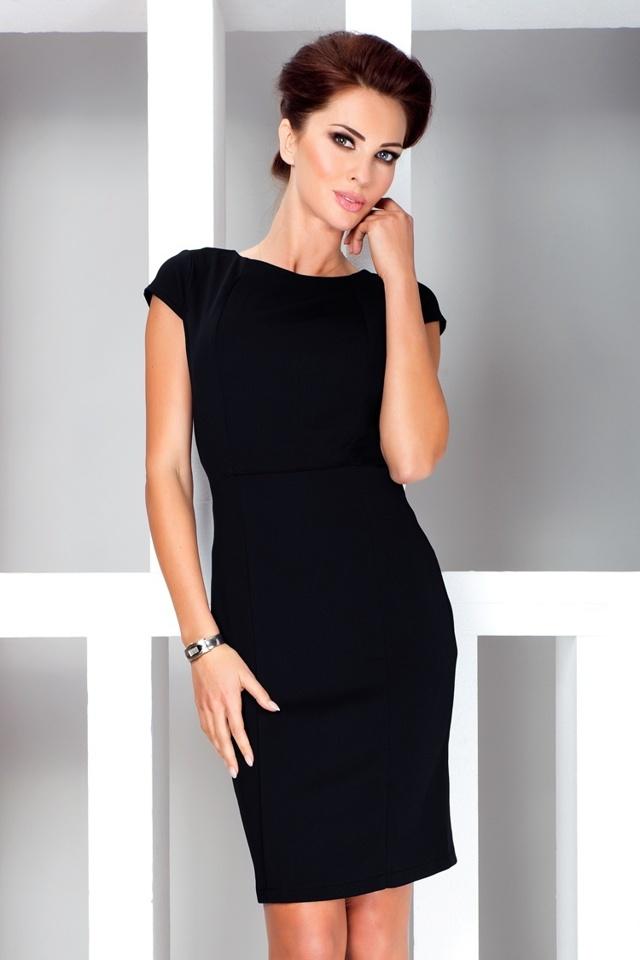 e3d24d5d8d4 Černé elegantní šaty s krátkými rukávy 37-3 - S