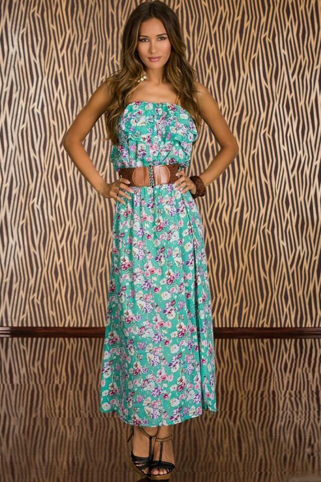 Dlouhé letní šaty s opaskem - S/M