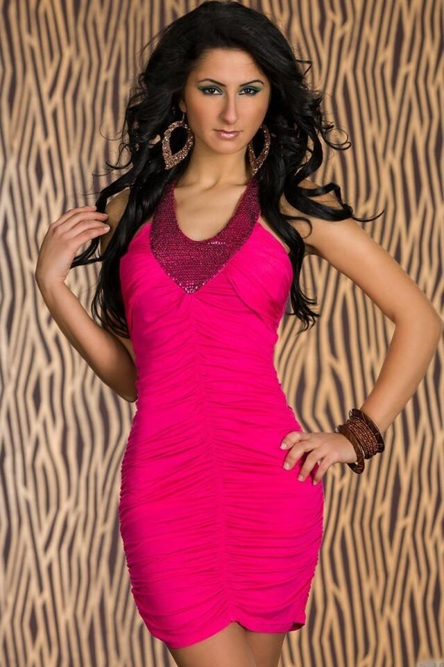 Růžové šaty - M/L