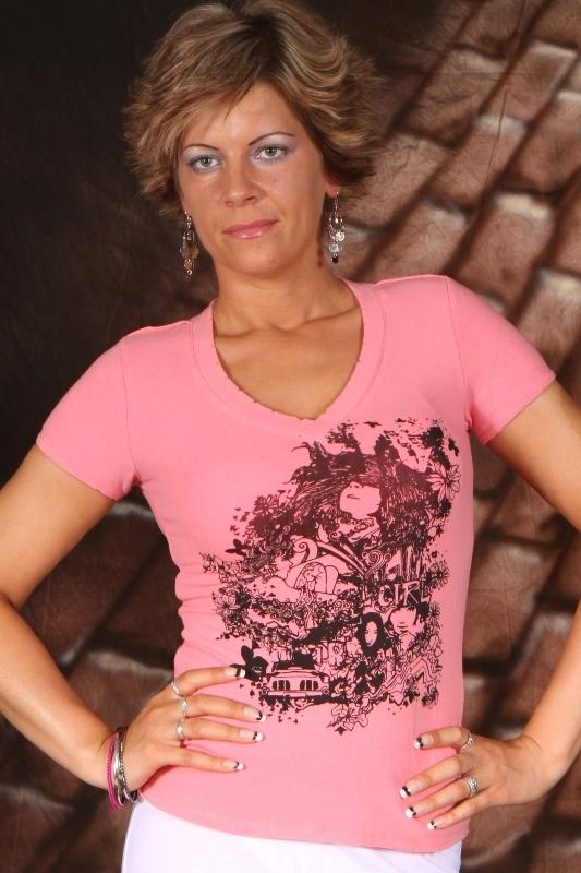 Slevy - Tričko dámské s potiskem - Růžové - S